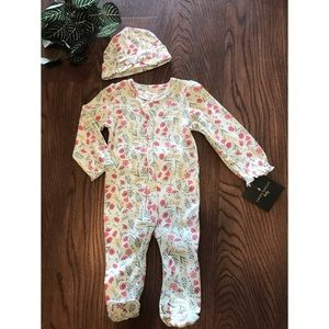 LAURA ASHLEY COTTON BABY FOOTSIE AND CAP